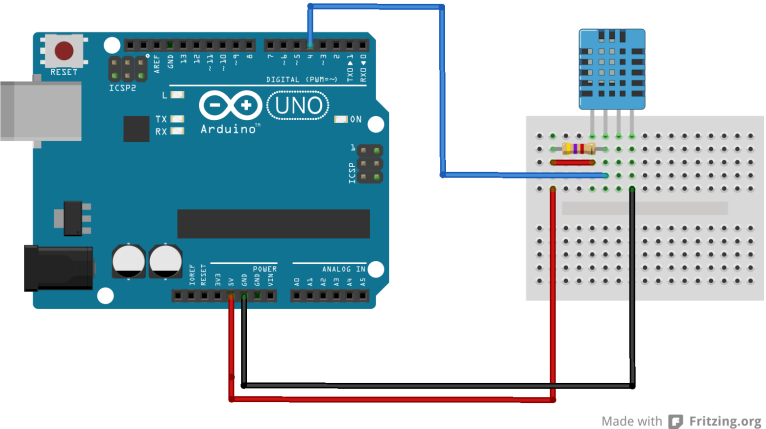 Arduino and DHT11 breadboard