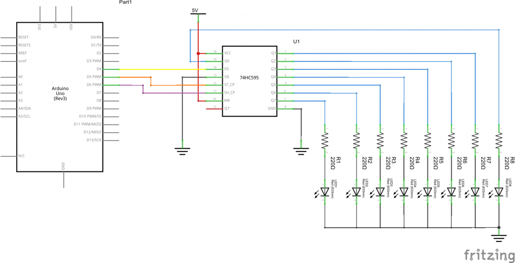 595 shift register schematic