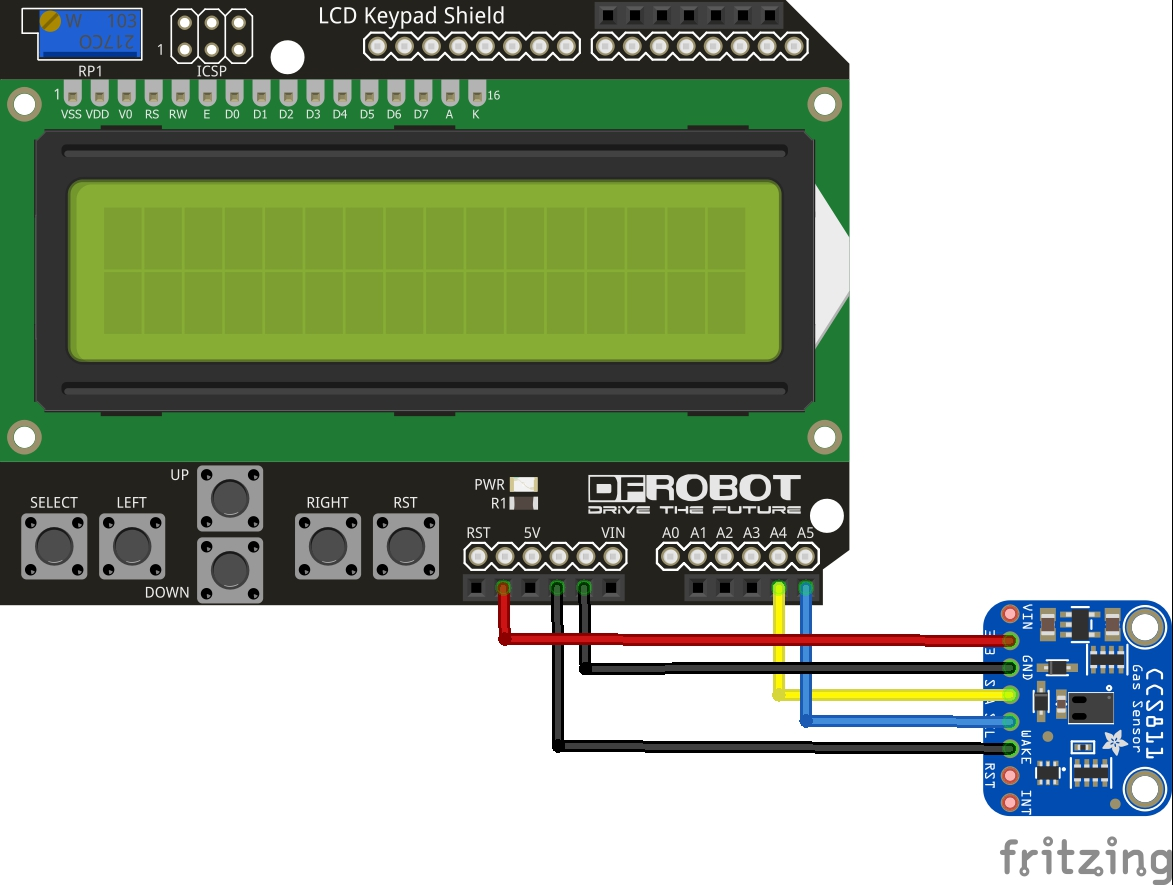 lcd shield and ccs811 gas sensor layout