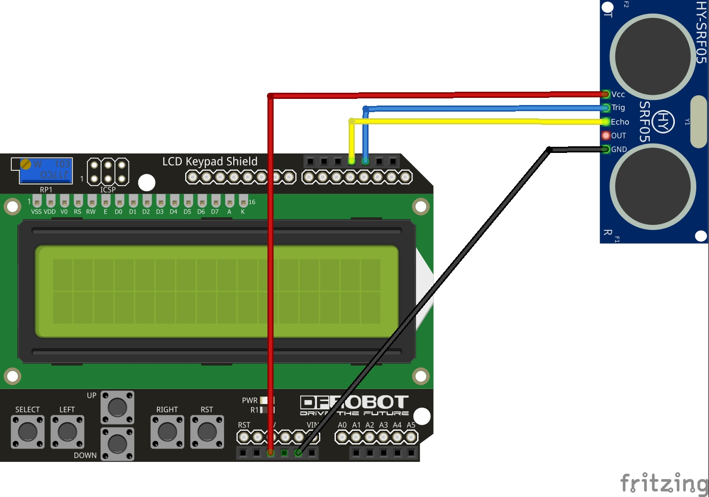 arduino and lcd keypad shield and HY-SRF05